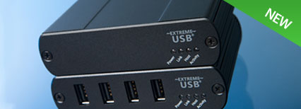 4-Port USB 2.0 Extender up to 100m over a GigE LAN or single CAT 5e/6/7 Cable